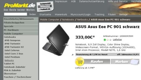 asus-eee-pc-901 pro markt
